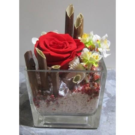 Rose unique dans vase carré - Fleurs stabilisées
