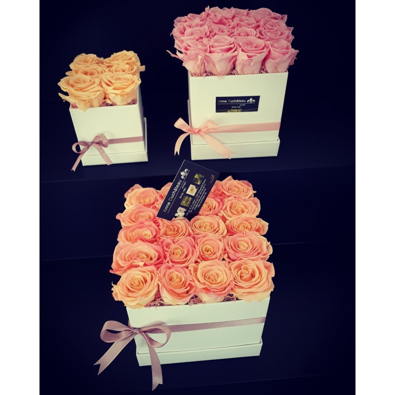 Coffret de roses éternelles - fleurs stabilisées